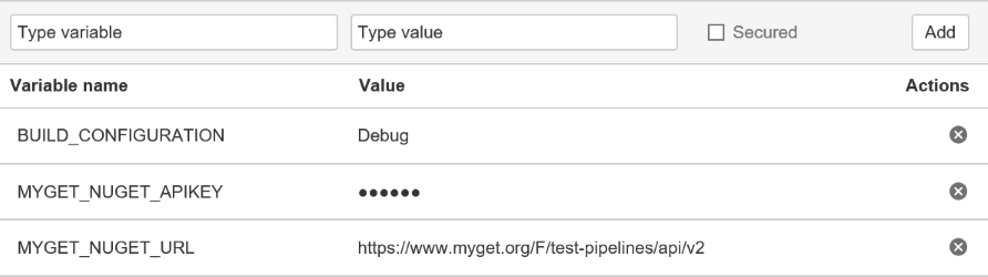 Environment variables required to push from Bitbucket pipelines to MyGet