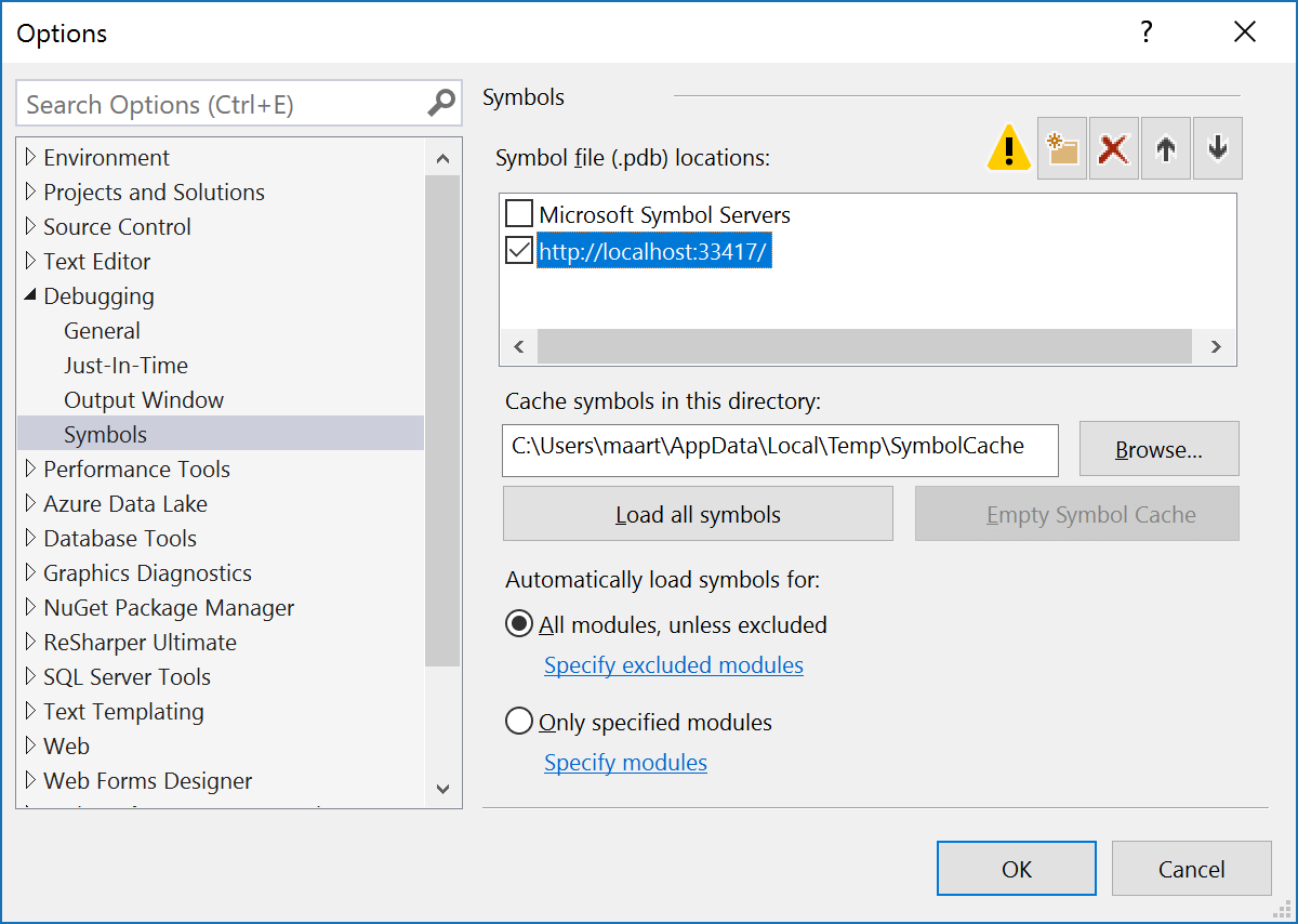 Visual Studio symbol loading settings - add dotPeek