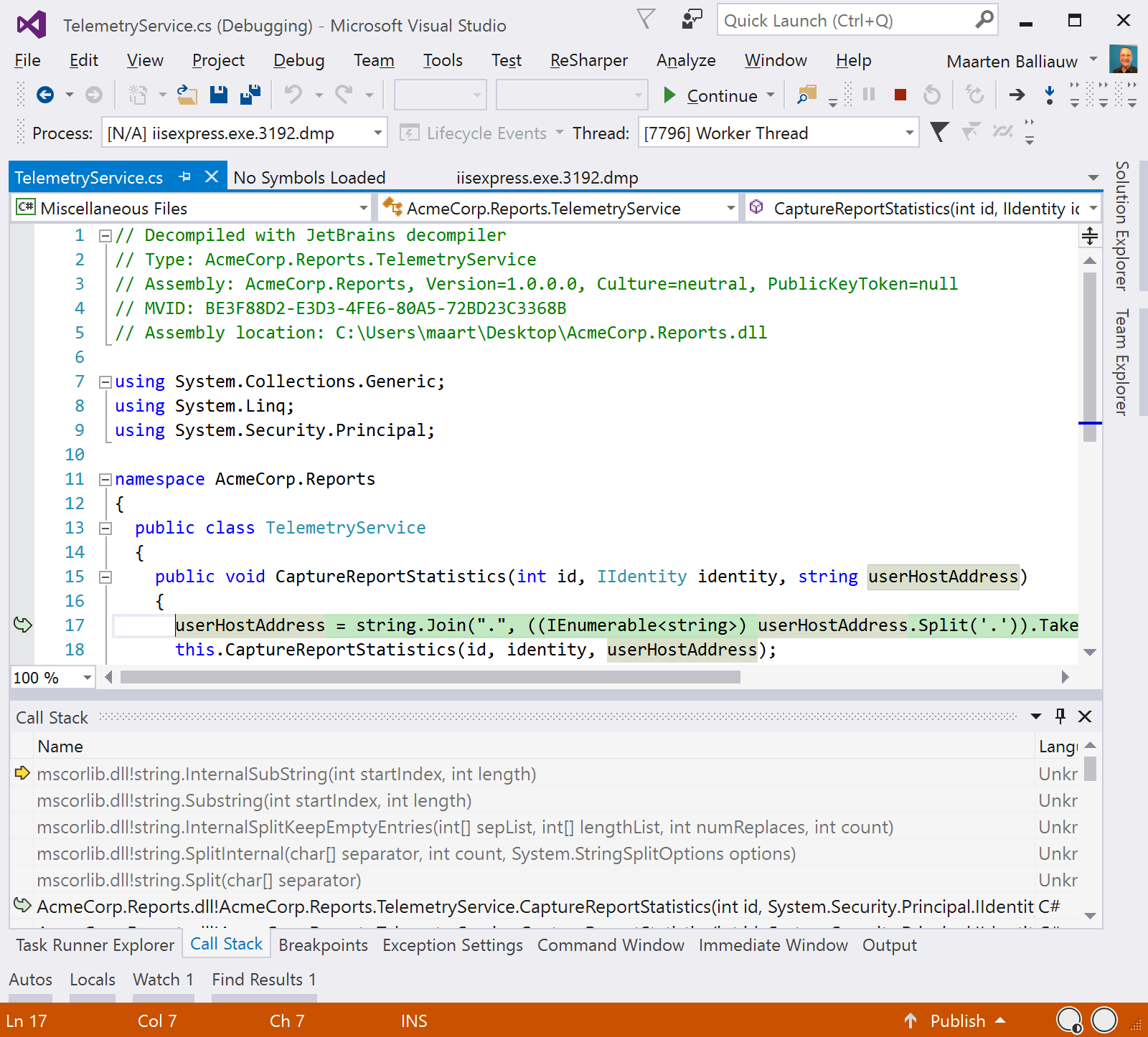 View decompiled sources from dotPeek in Visual Studio