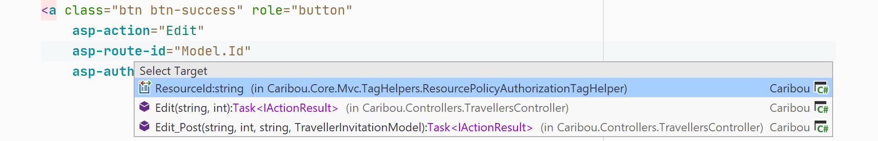 Navigate from view to tag helper in ASP.NET Core and Razor pages