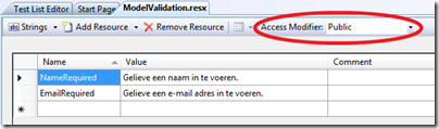 Access modifier in resource file
