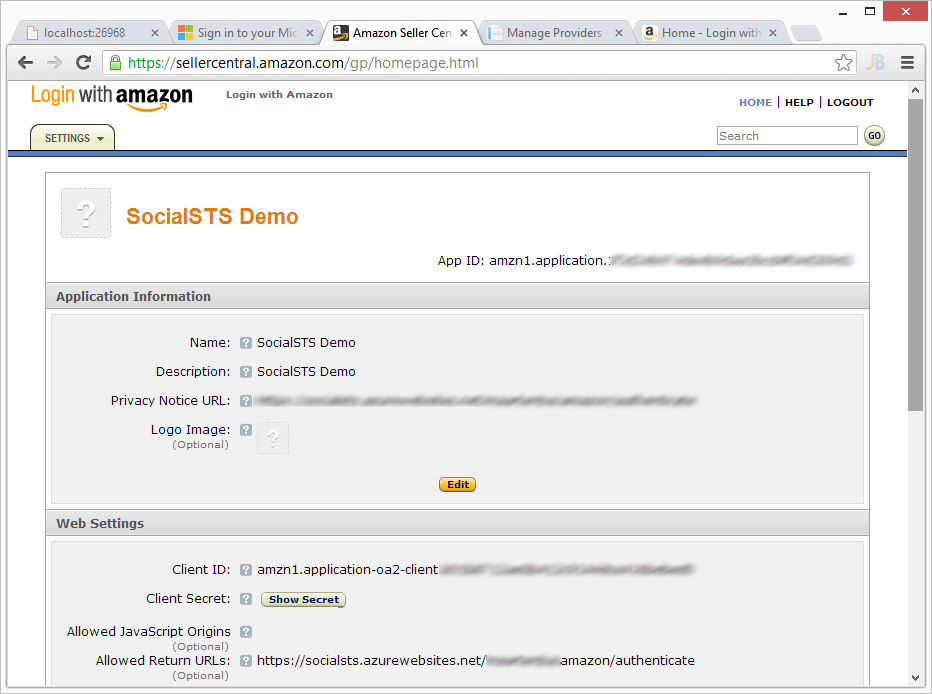 Using Amazon Login (and LinkedIn and …) with Windows Azure