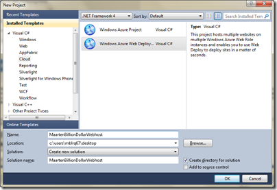 Create new Windows Azure Accelerator for Web Roles project