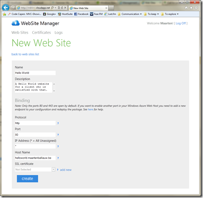 Create a site in Windows Azure Accelerator for Web Roles