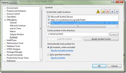 MyGet symbol server in Visual Studio