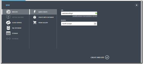 Creating a Windows Azure Website