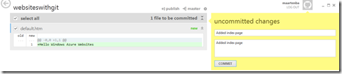 GitHub commit Windows Azure