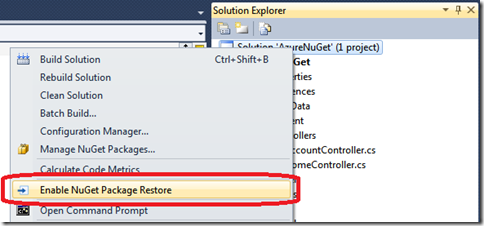 NuGet package restore Windows Azure Websites Antares