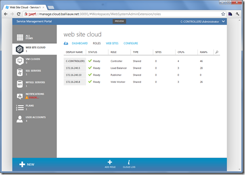 Windows Azure Services for Windows Server Web Sites