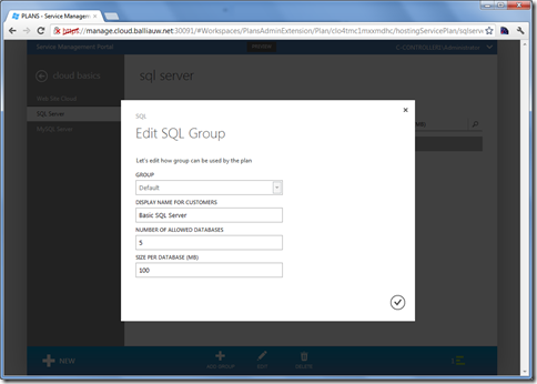 Windows Azure Services for Windows Server Manage plans