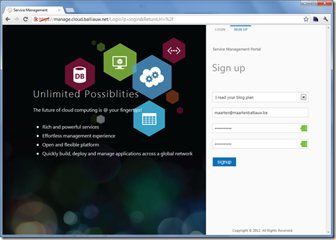 Sign up for Windows Azure Services for Windows Server