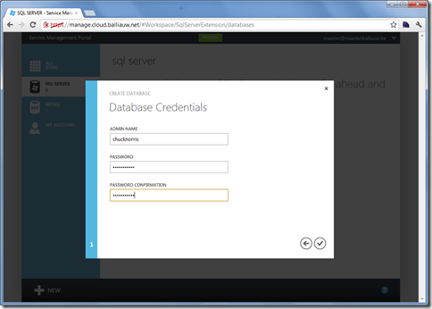 Windows Azure Services for Windows Server create database