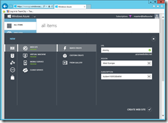 Create a Windows Azure web site