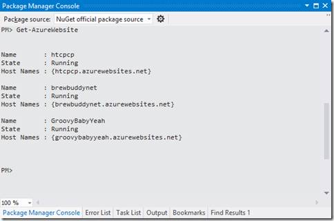 List Windows Azure Web Site from NuGet Package Manager console