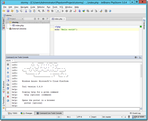 Running Windows Azure bash tools in PhpStrom WebStorm