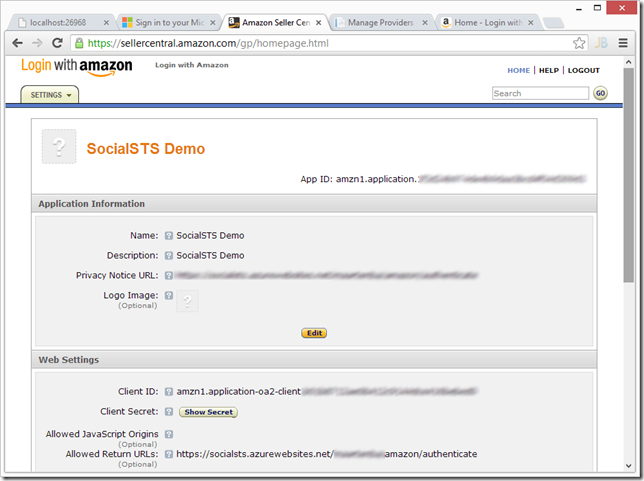 Amazon Login with Access Control on Windows Azure