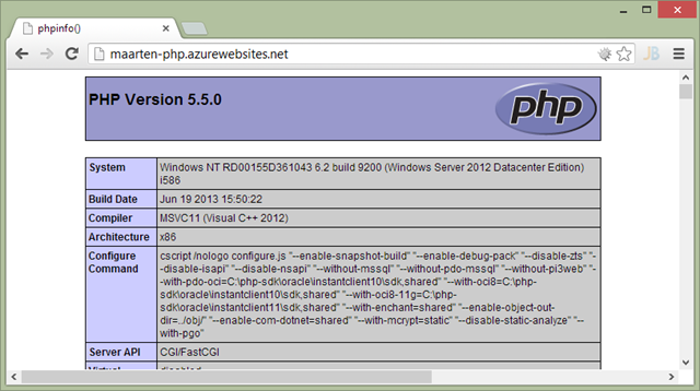 Running PHP 5.5 on Windows Azure