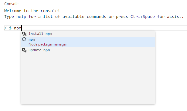 Console in Visual Studio Online