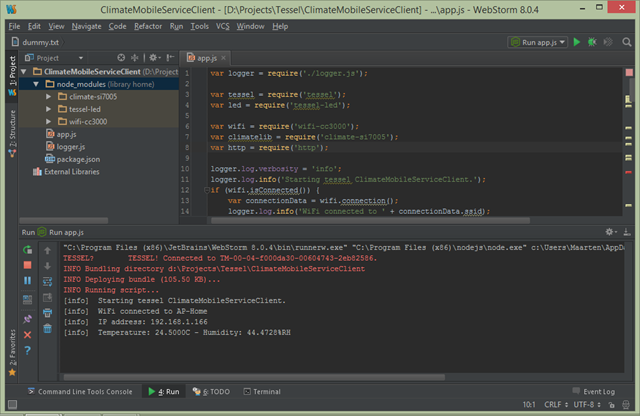 Run code on Tessel from WebStorm