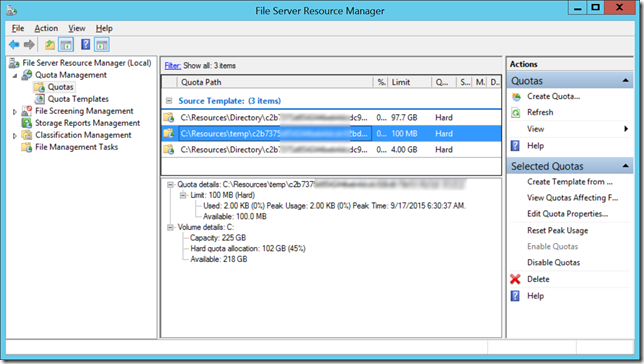 Azure temporary folder TEMP TMP quotas 100 MB