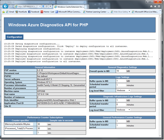 Windows Azure Diagnostics Manager for PHP