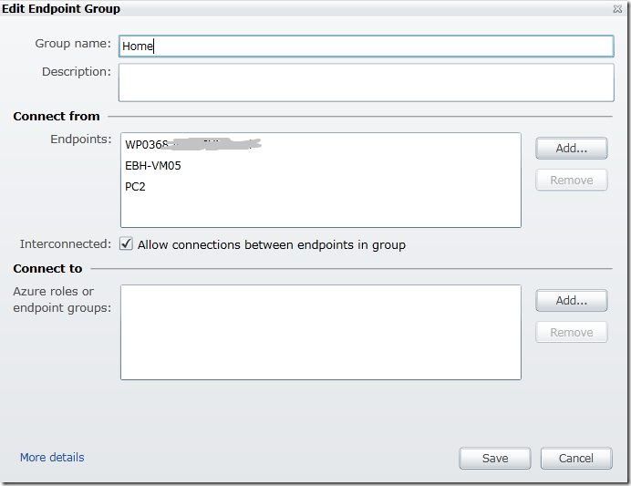 Windows Azure Connect create group