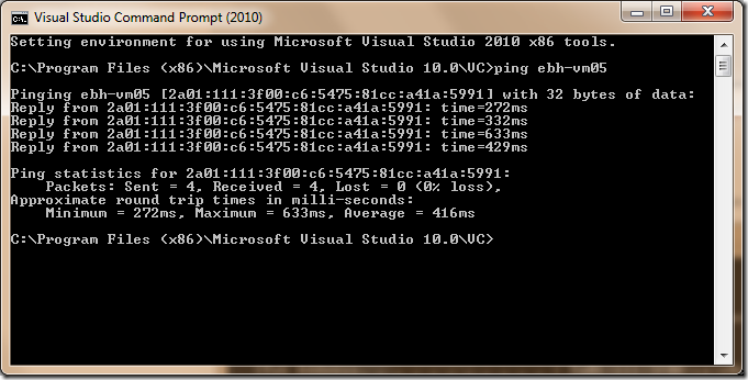 Windows Azure Connect ping