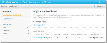 Windows Azure AppFabric Application Management Portal